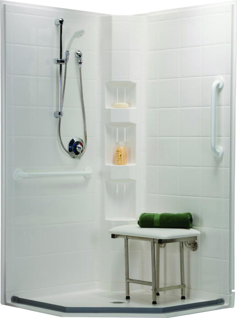 Exellent frameless corner shower stalls kits for small for Small bathroom kits